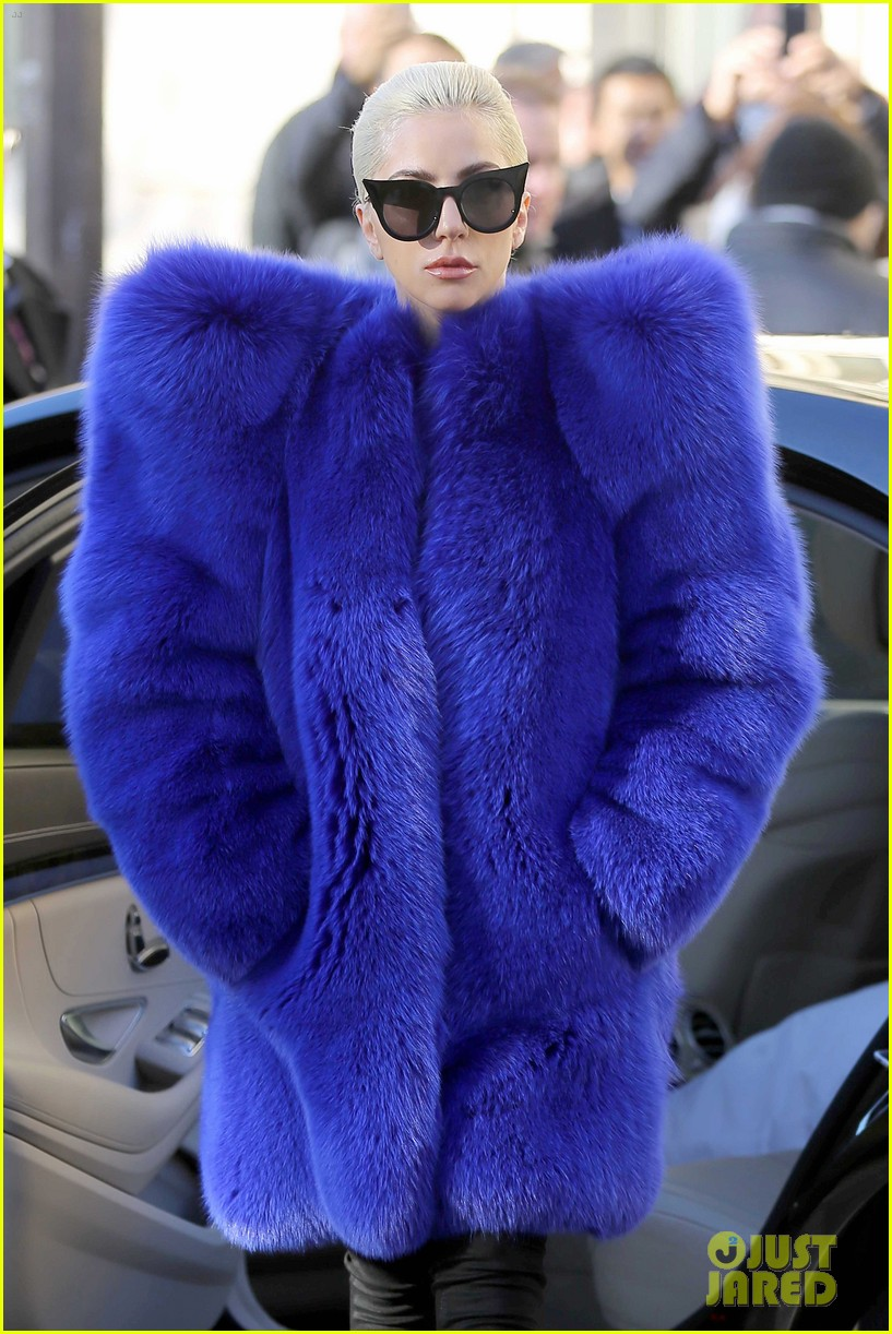 Full Sized Photo of lady gaga blue fur coat paris 01 ... Lady Gaga