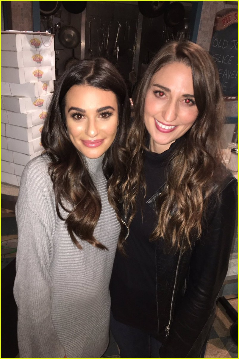 About Photo #3804120: Lea Michele and her former Glee co-star Jenna Ushkowitz pose backstage with a pie at the musical Waitress on Broadway at The Brooks Atkinson Theatre on Sunday (November… Read More Here