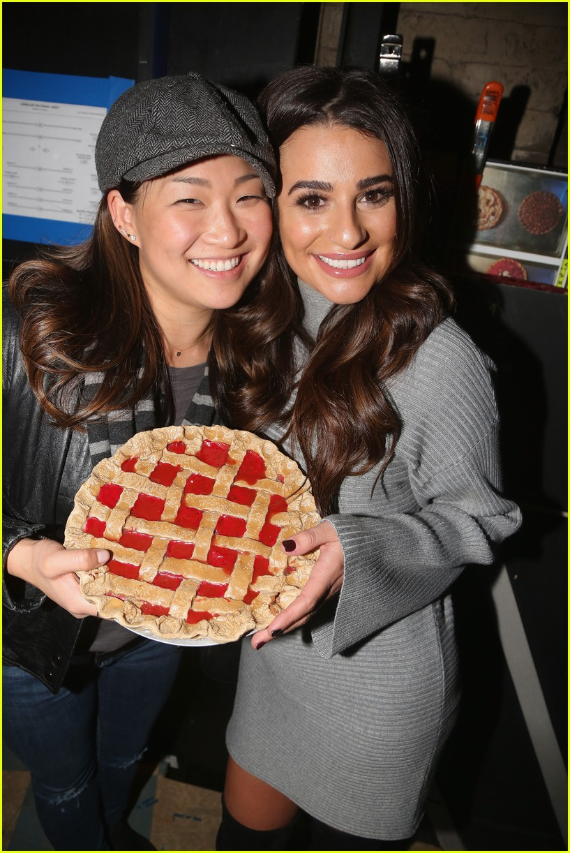 About Photo #3804121: Lea Michele and her former Glee co-star Jenna Ushkowitz pose backstage with a pie at the musical Waitress on Broadway at The Brooks Atkinson Theatre on Sunday (November… Read More Here
