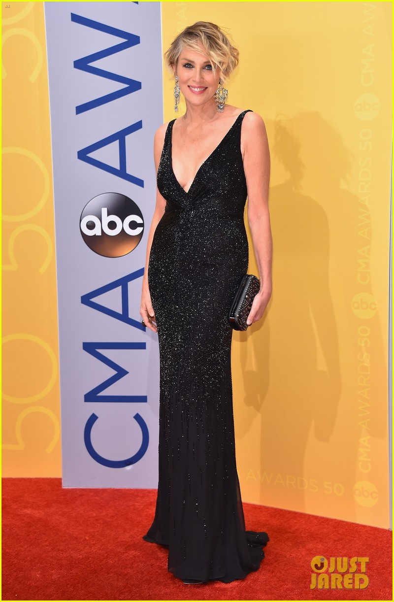sharon stone olivia newton john go rocker chic for cma awards 033800560
