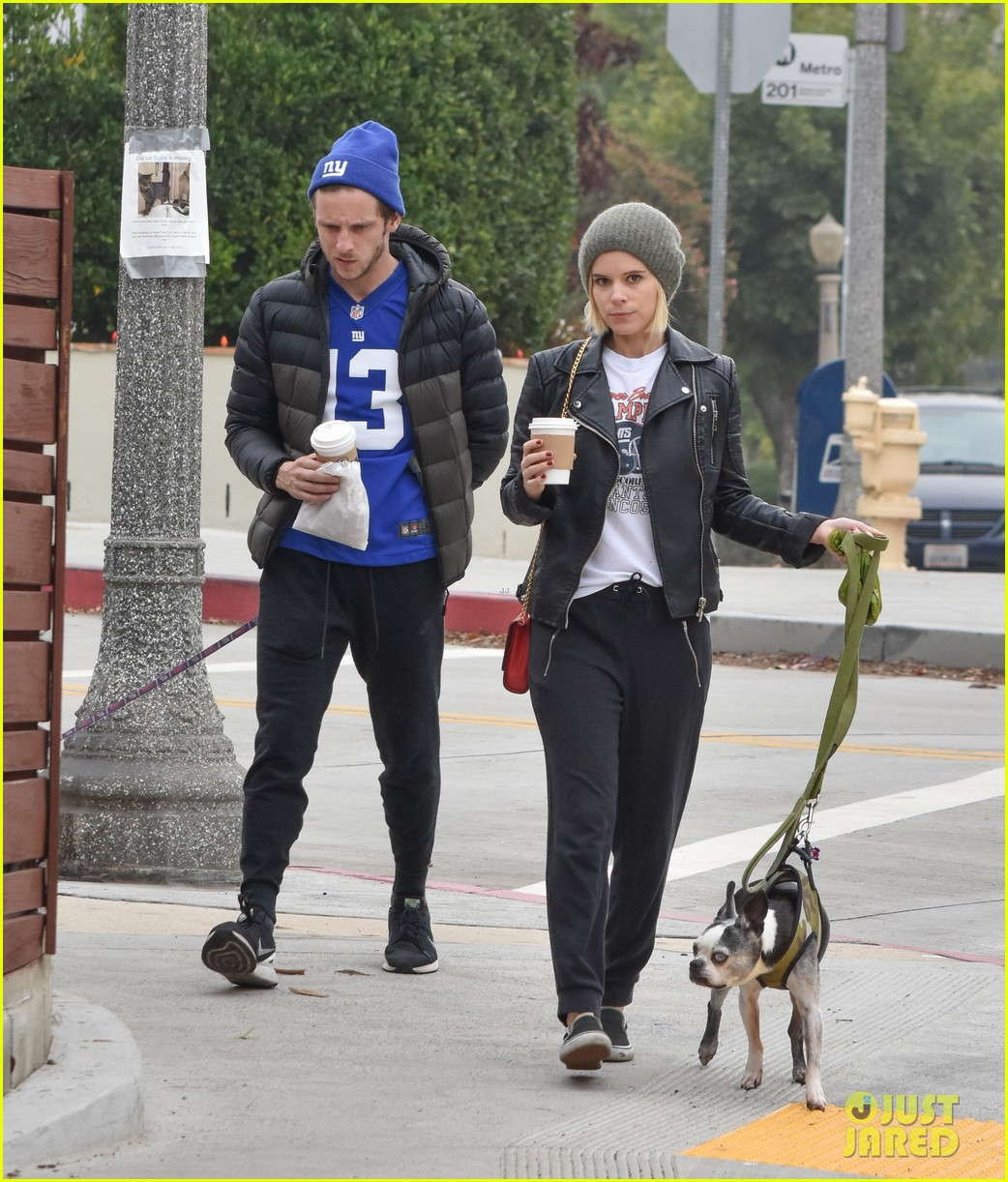 kate mara jamie bell take their dogs for a walk 013827973