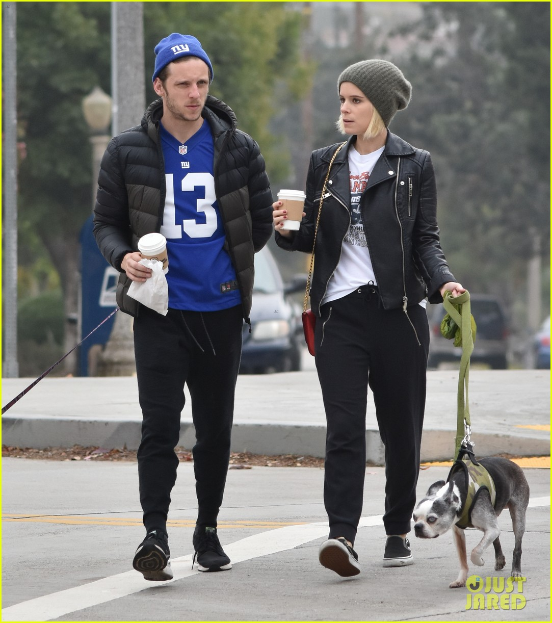 kate mara jamie bell take their dogs for a walk 093827981