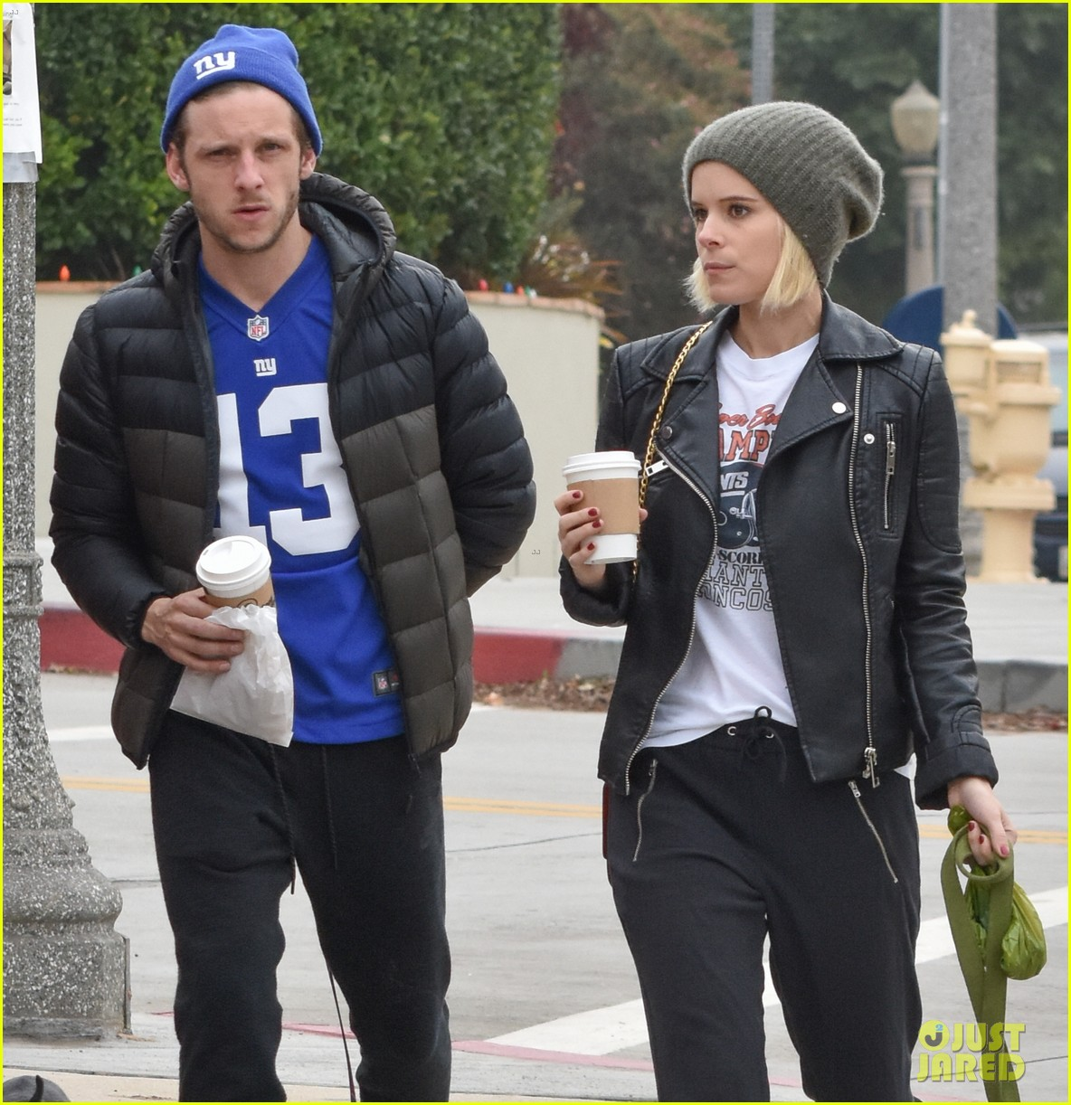 kate mara jamie bell take their dogs for a walk 103827982