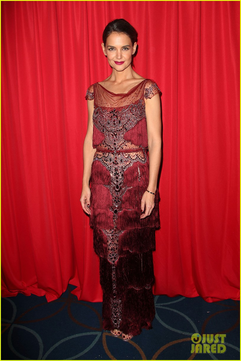katie holmes models marchesa in red dress show for nyfw 013856464