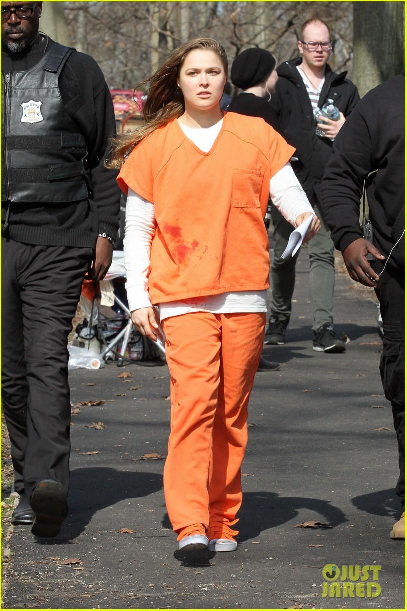 Ronda Rousey Wears A Prisoner Uniform On Blindspot Set