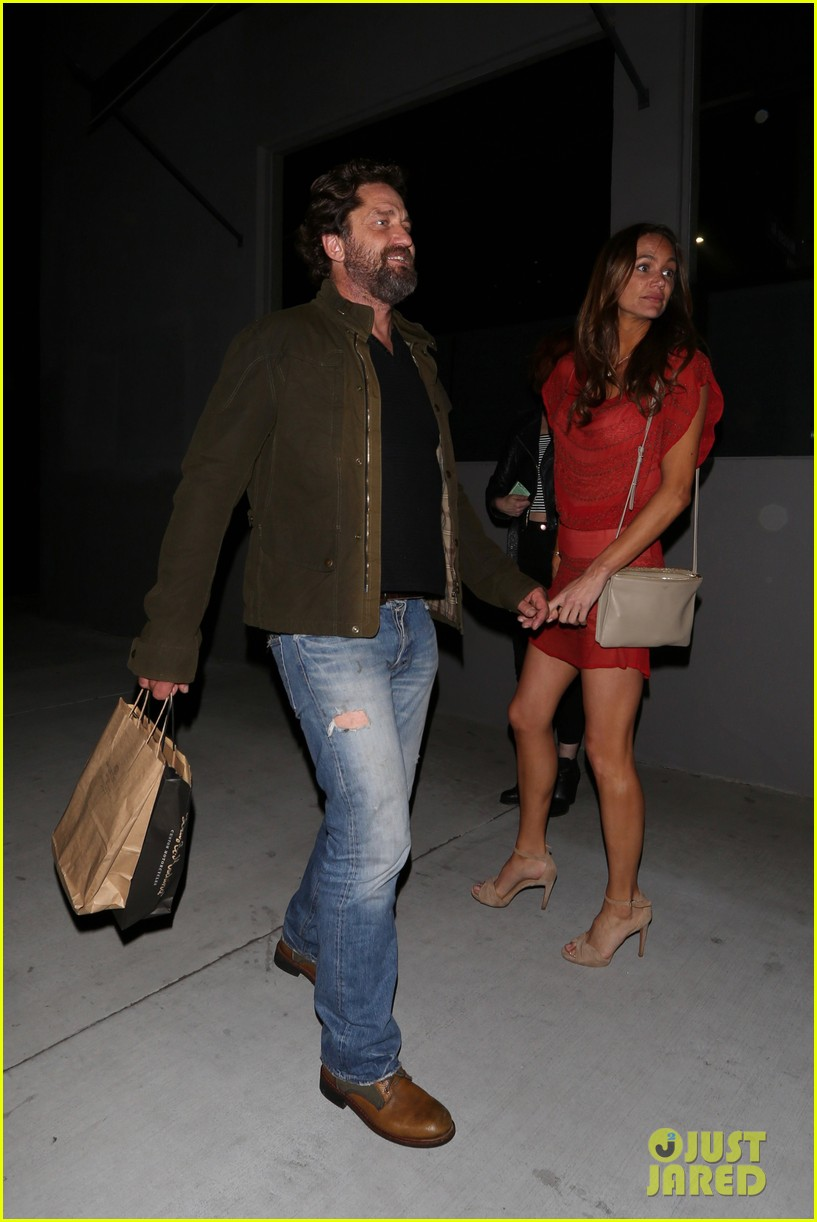 gerard butler morgan brown all smiles on date night 043880435
