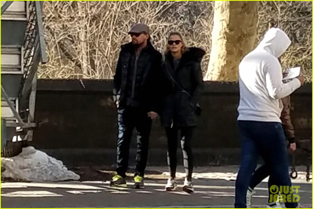 leonardo dicaprio nina agdal hold hands during central park stroll 023876436