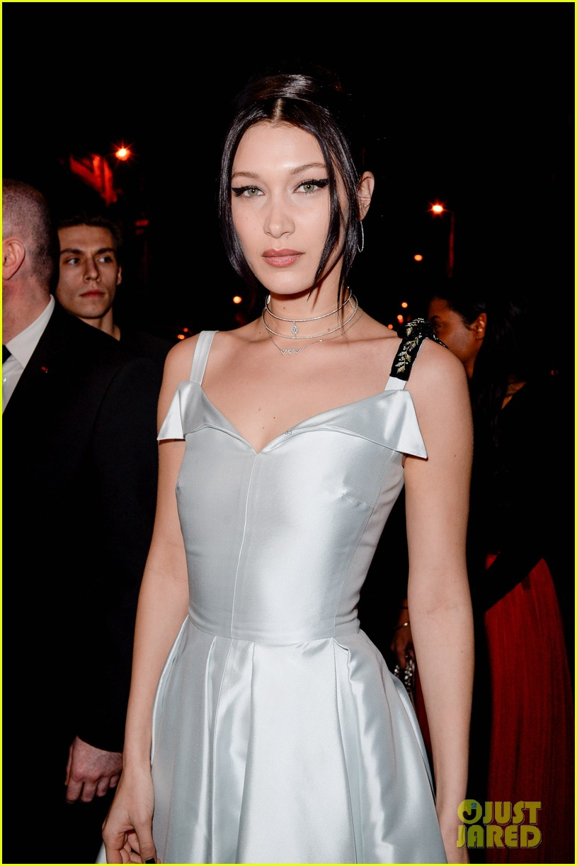 Full Sized Photo of bella hadid stuns in a silver gown at dior party ...