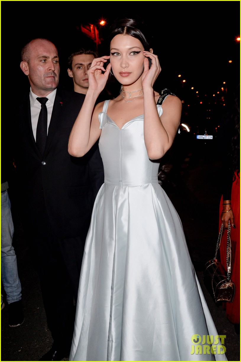 bella hadid stuns in a silver gown at dior party 073869974