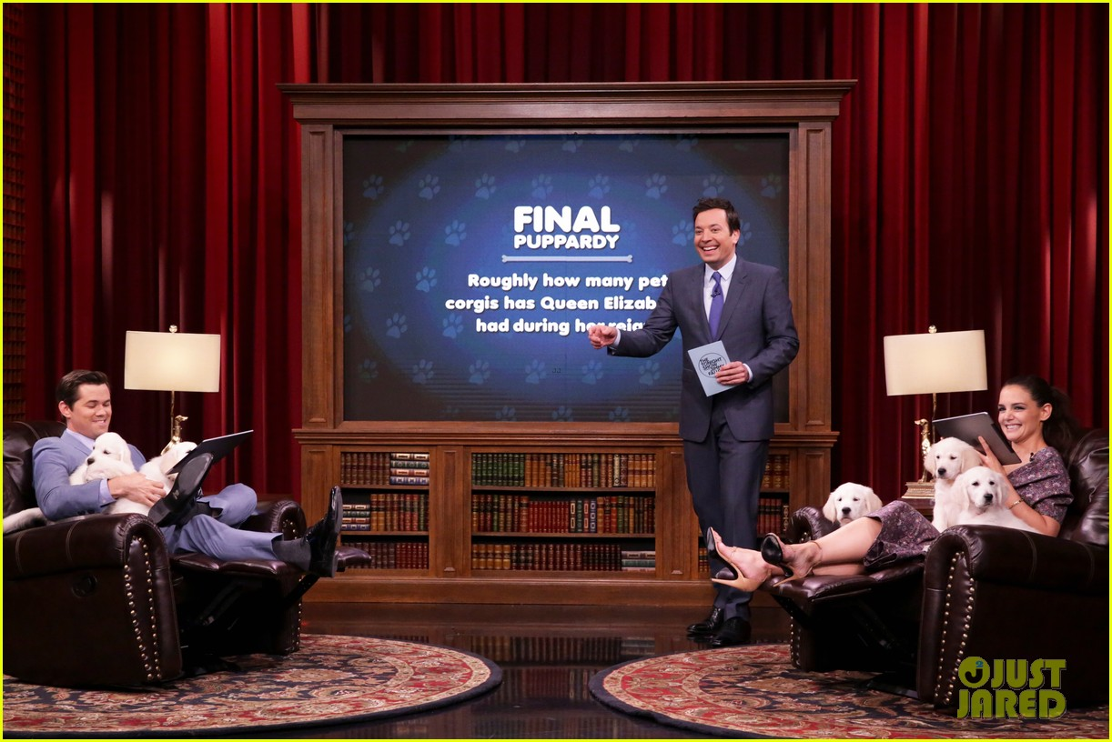 katie holmes andrew rannells face off on the tonight shows pup quiz 033880186