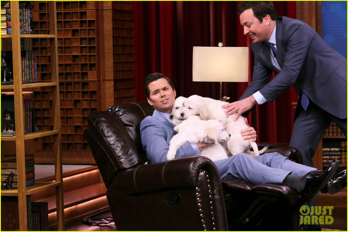 katie holmes andrew rannells face off on the tonight shows pup quiz 043880187