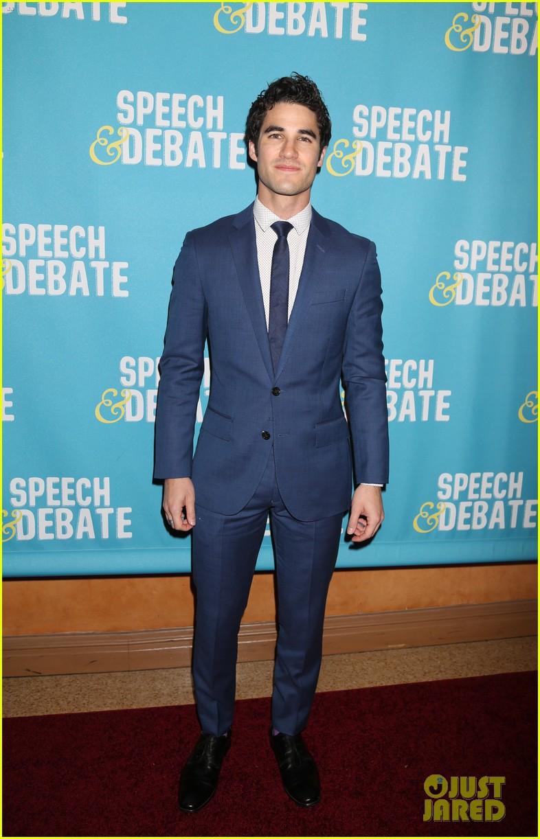darren criss joins speech debate cast at nyc premiere 023881644