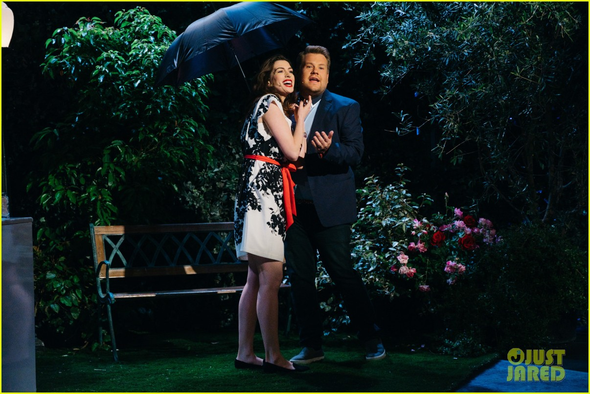 anne hathaway james corden perform epic romantic comedy musical 013888963