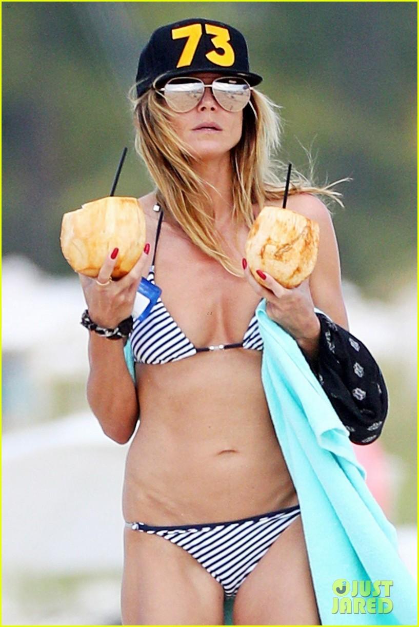 90c2b5f25664f Heidi Klum Rocks Tiny Bikini Collection on Tropical Vacation  Photo ...
