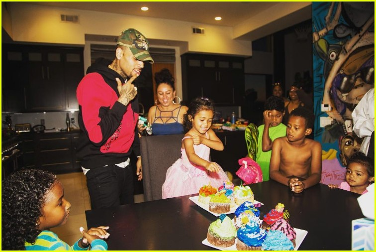 chris brown celebrates royalty third birthday pool party 043906800