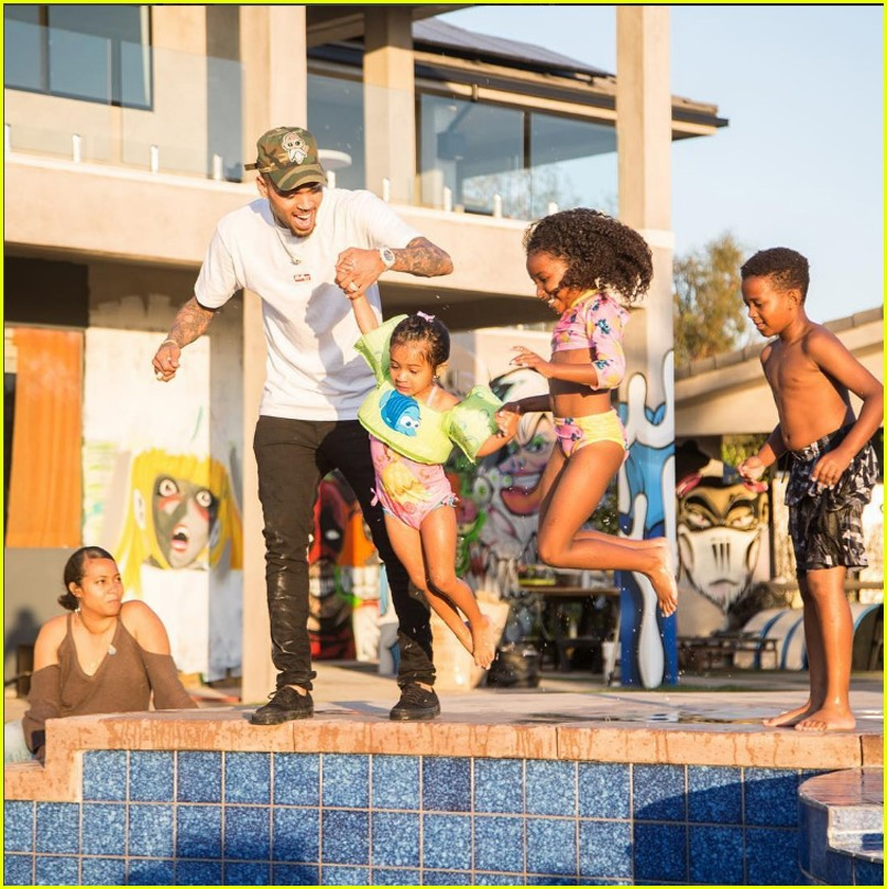 chris brown celebrates royalty third birthday pool party 053906801