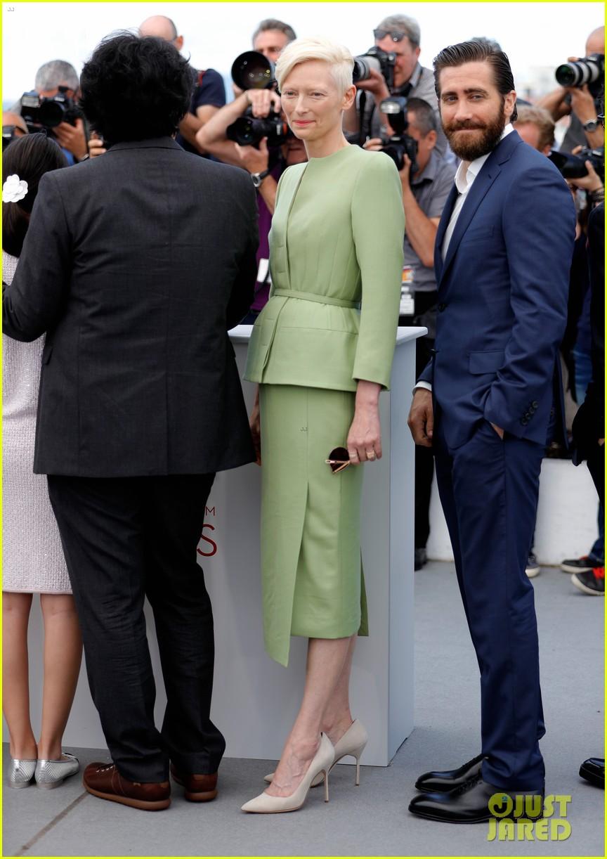 jake gyllenhaal tilda swinton lily collins debut okja at cannes film fest 363901390