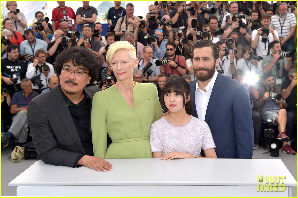 jake gyllenhaal tilda swinton lily collins debut okja at cannes film fest 373901391