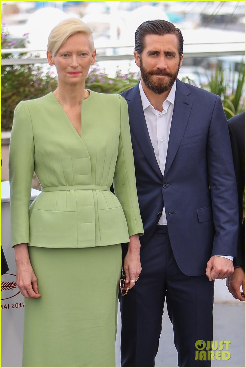 jake gyllenhaal tilda swinton lily collins debut okja at cannes film fest 383901392