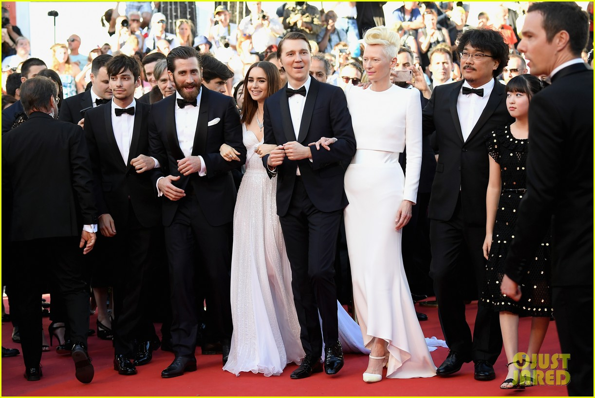 jake gyllenhaal tilda swinton lily collins switch it up for okja cannes premiere 083901562