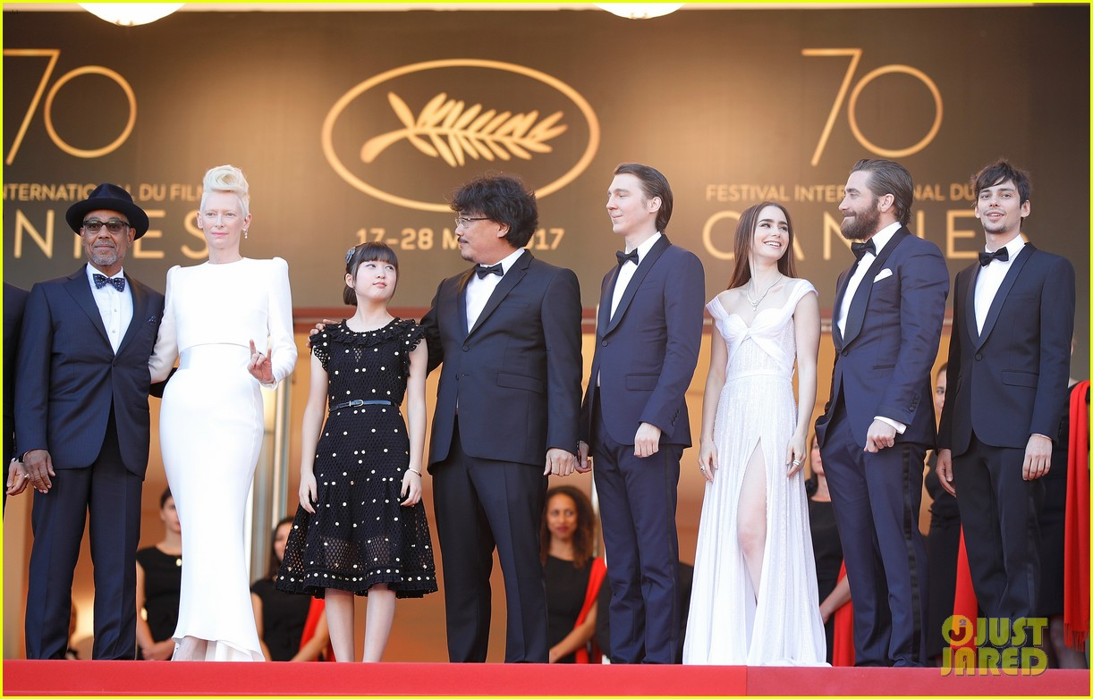 jake gyllenhaal tilda swinton lily collins switch it up for okja cannes premiere 103901564