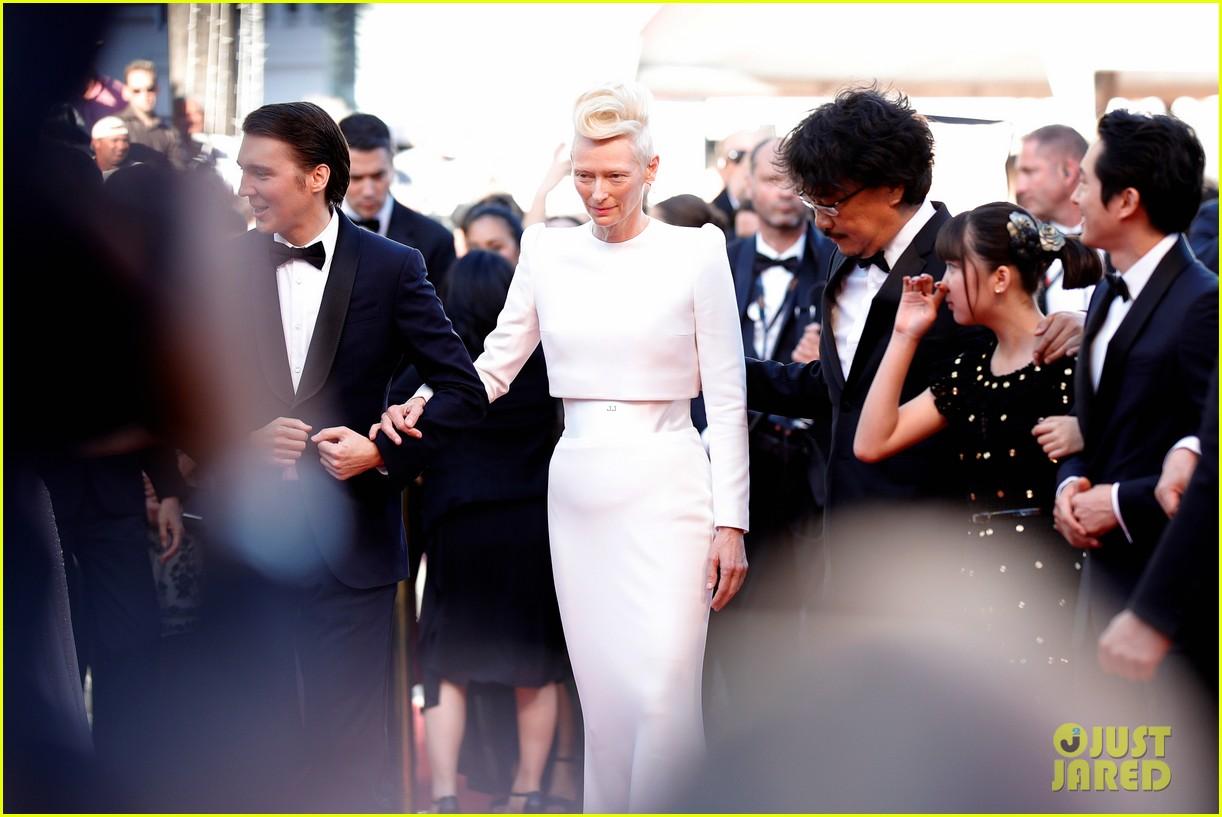 jake gyllenhaal tilda swinton lily collins switch it up for okja cannes premiere 173901571