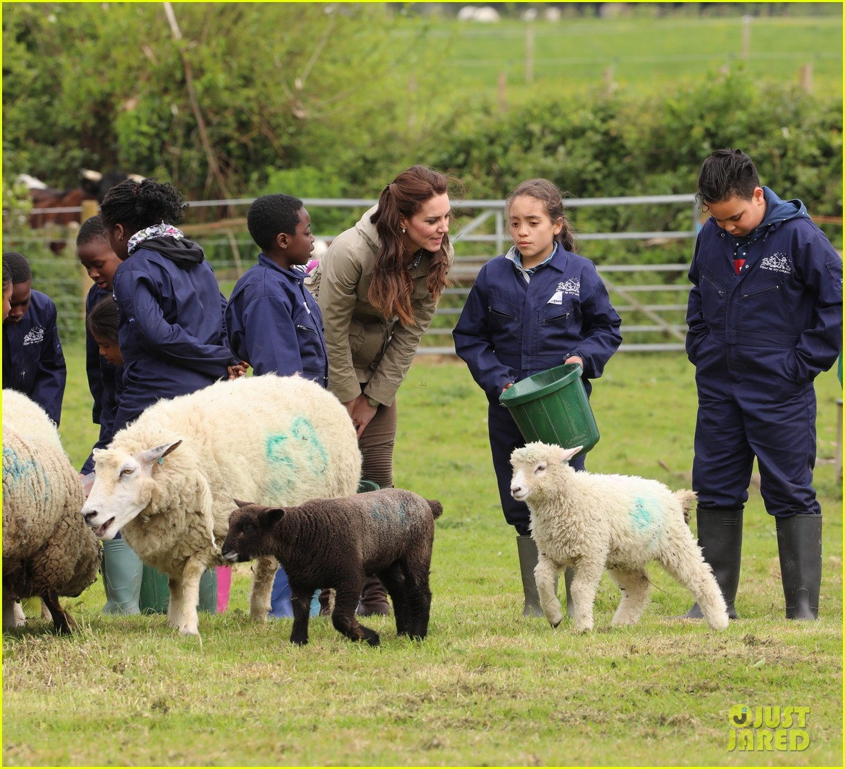 kate middleton feed baby lambs farms for children visit 163894796