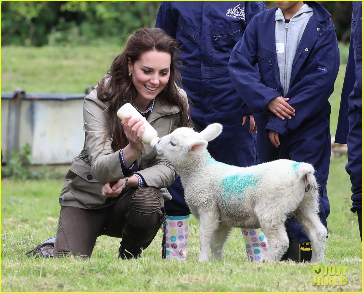 kate middleton feed baby lambs farms for children visit 223894802
