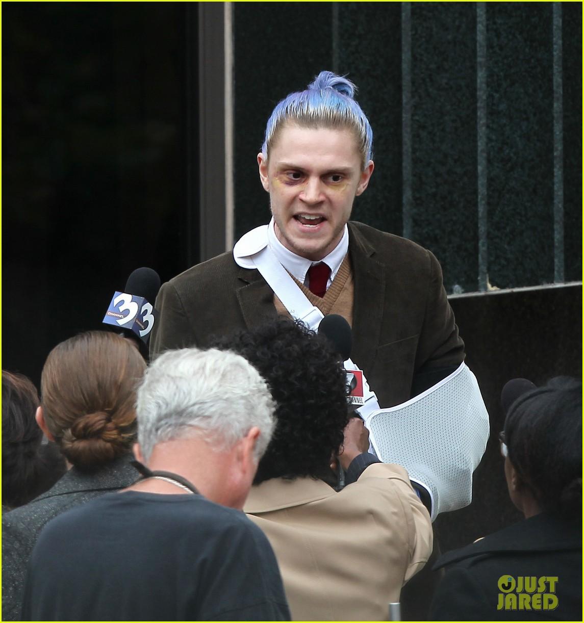 american horror story set photos evan peters sports blue hair 013906186
