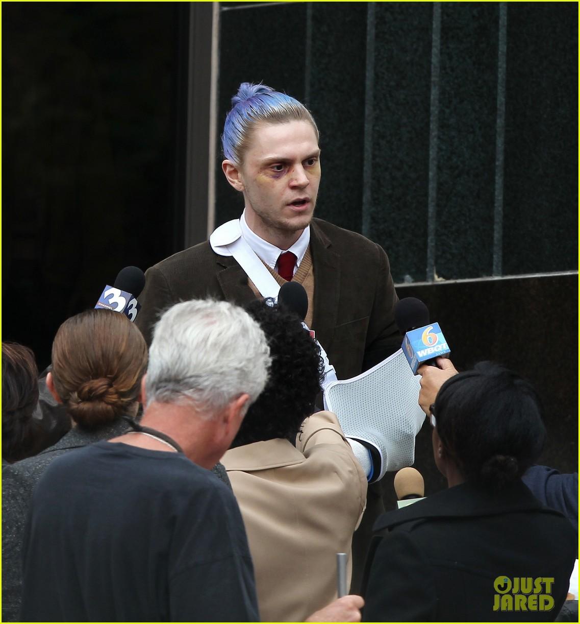 american horror story set photos evan peters sports blue hair 043906189