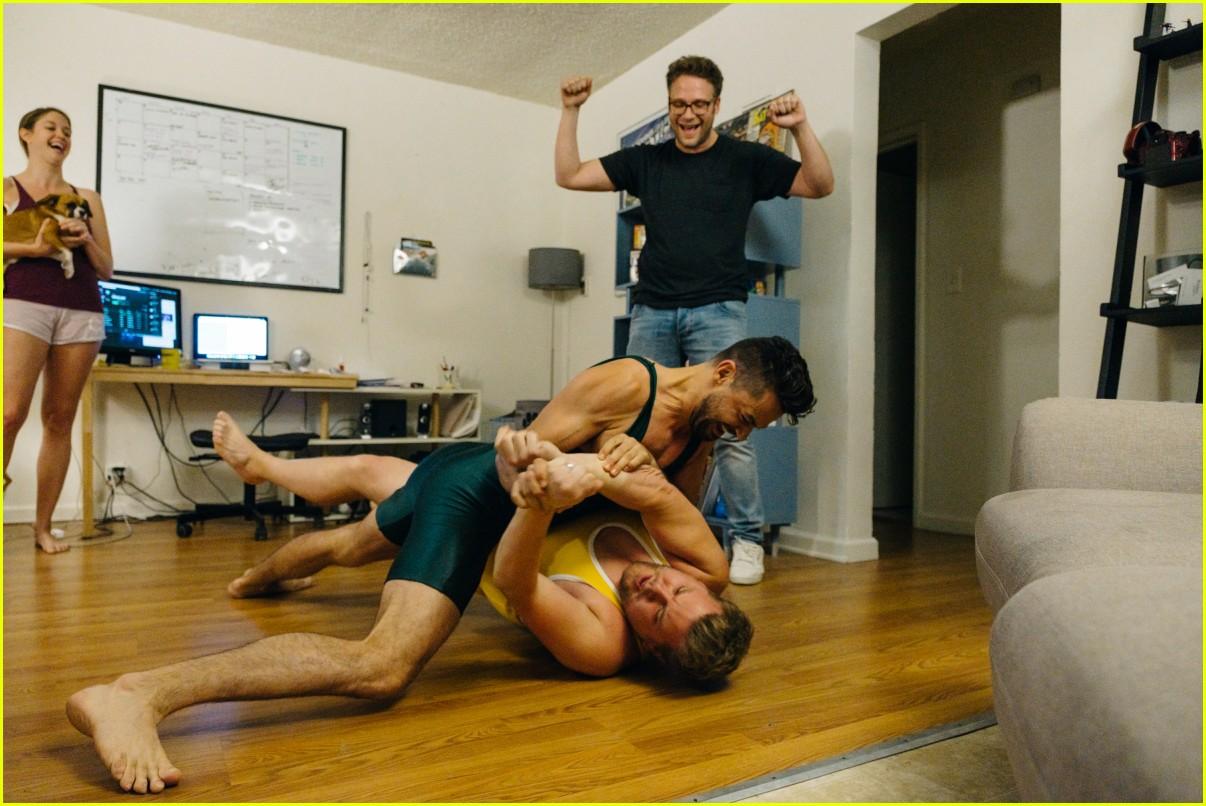 dominic cooper wrestles james corden over mystery pizza 013918724