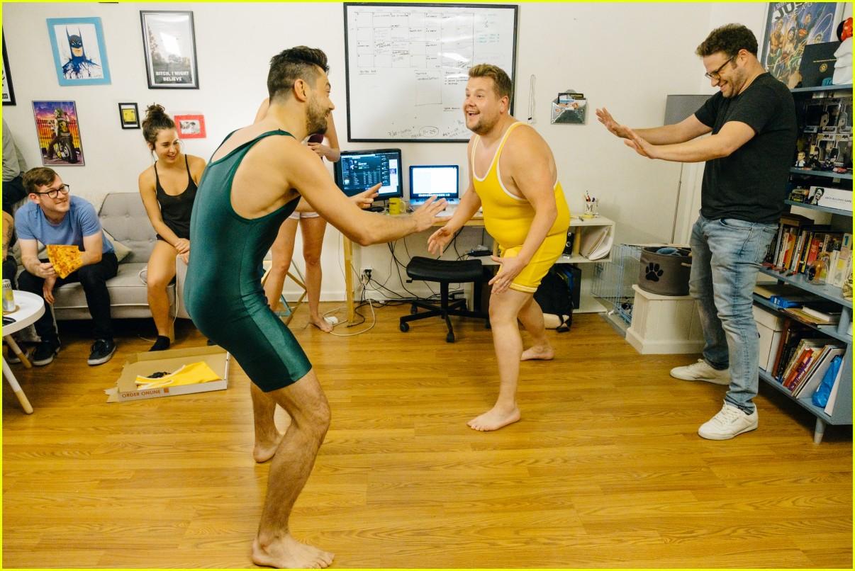dominic cooper wrestles james corden over mystery pizza 043918727