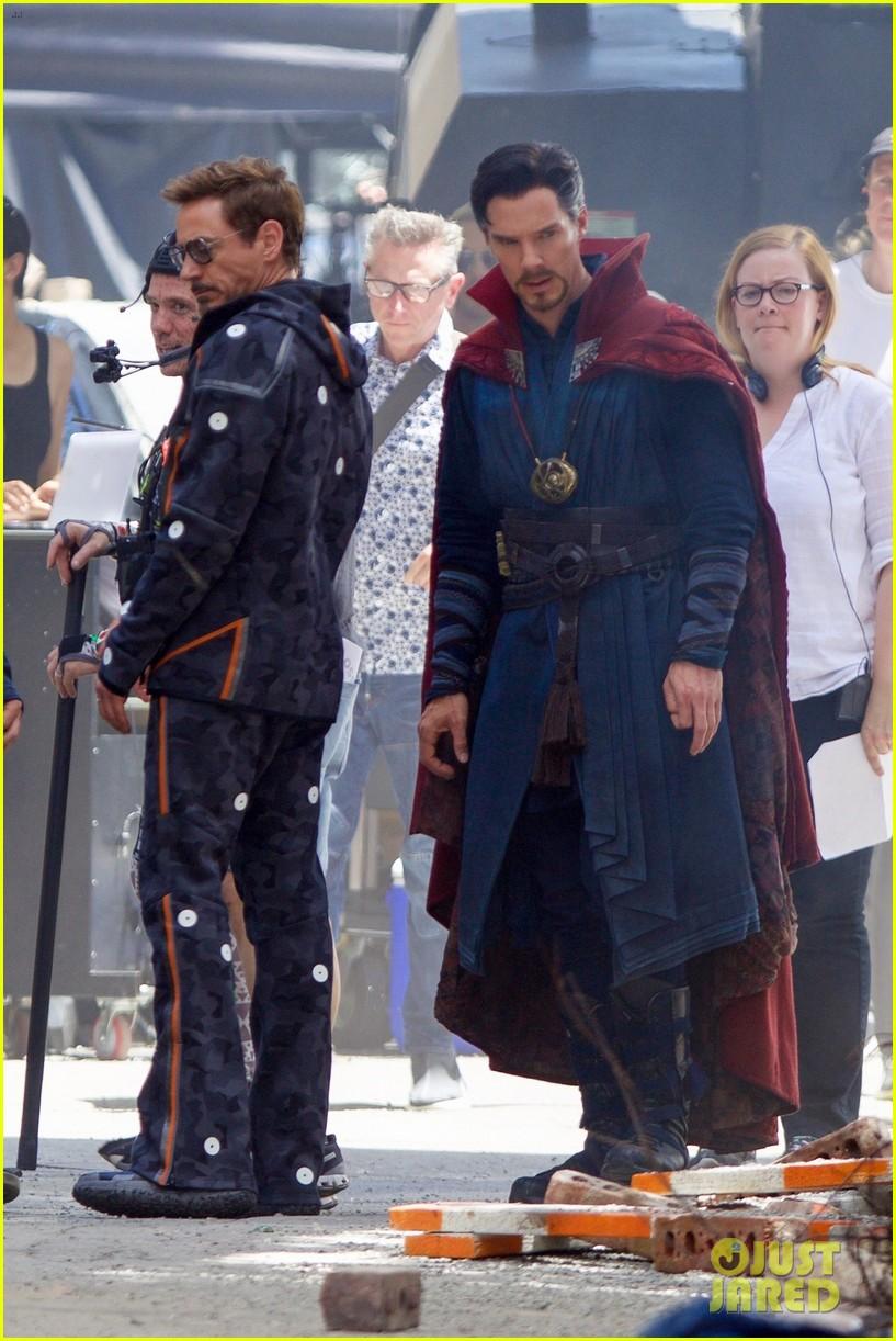 robert downey jr. films 'avengers: infinity war' with benedict