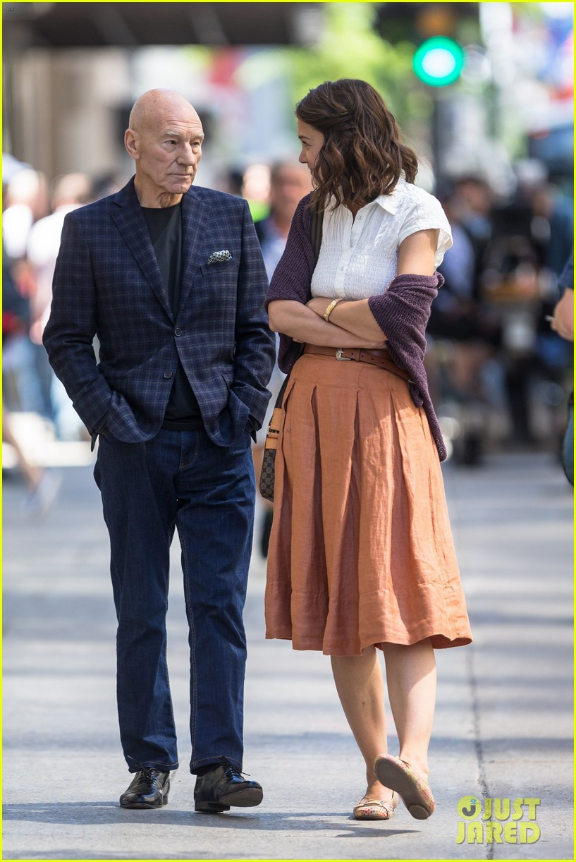 katie holmes and patrick stewart start filming the gift 053918477