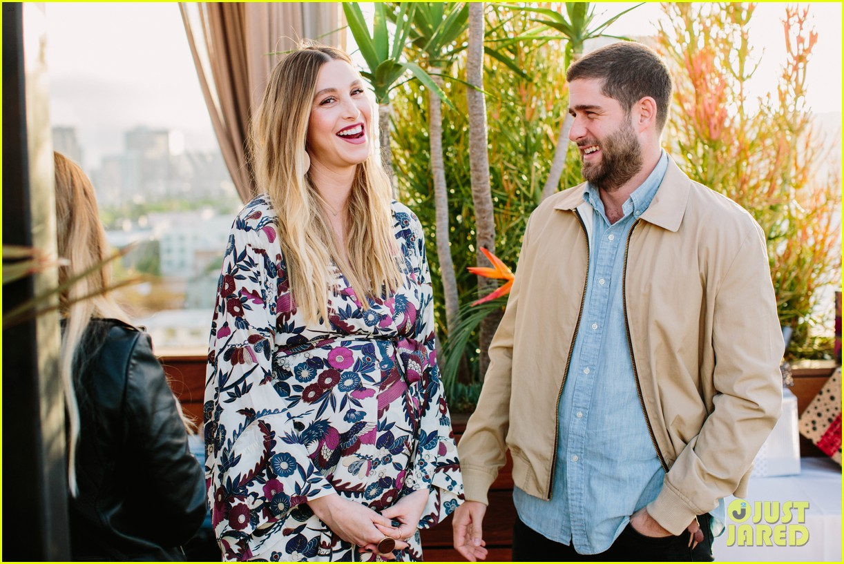 pregnant whitney port cradles baby bump at her baby shower 073915101
