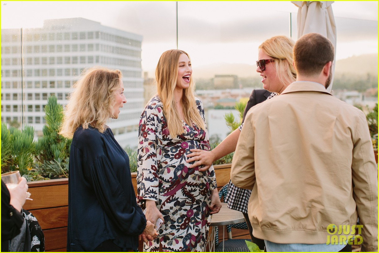 pregnant whitney port cradles baby bump at her baby shower 163915110