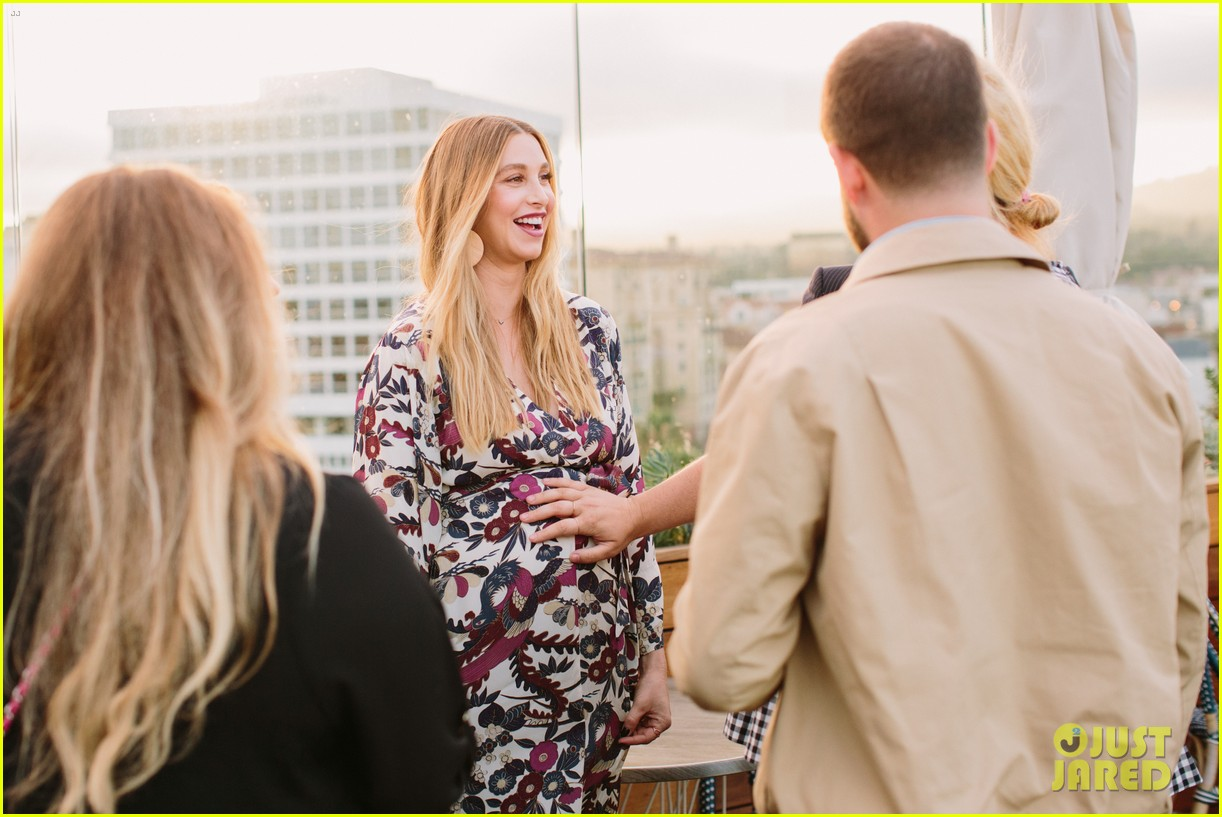 pregnant whitney port cradles baby bump at her baby shower 173915111