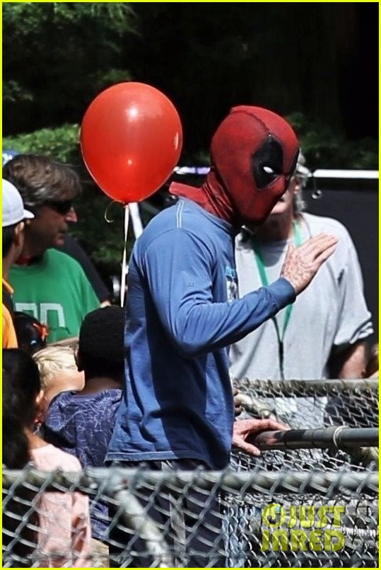 ryan reynolds deadpool flies into a kids birthday party 033920307