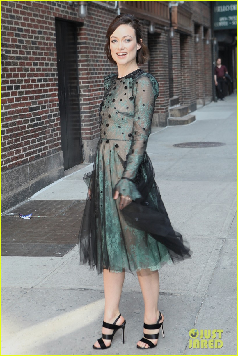 olivia wilde dazzles in see through dress for colbert 073914116