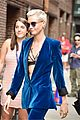 cara delevingne wears blue suede suit for late show with stephen colbert 05