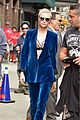 cara delevingne wears blue suede suit for late show with stephen colbert 09