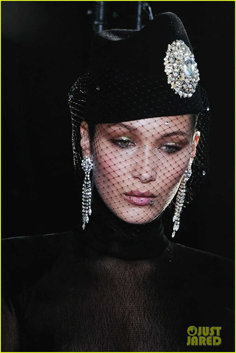 bella hadid wears completely see through top for alexandre vauthier fashion show 023923592