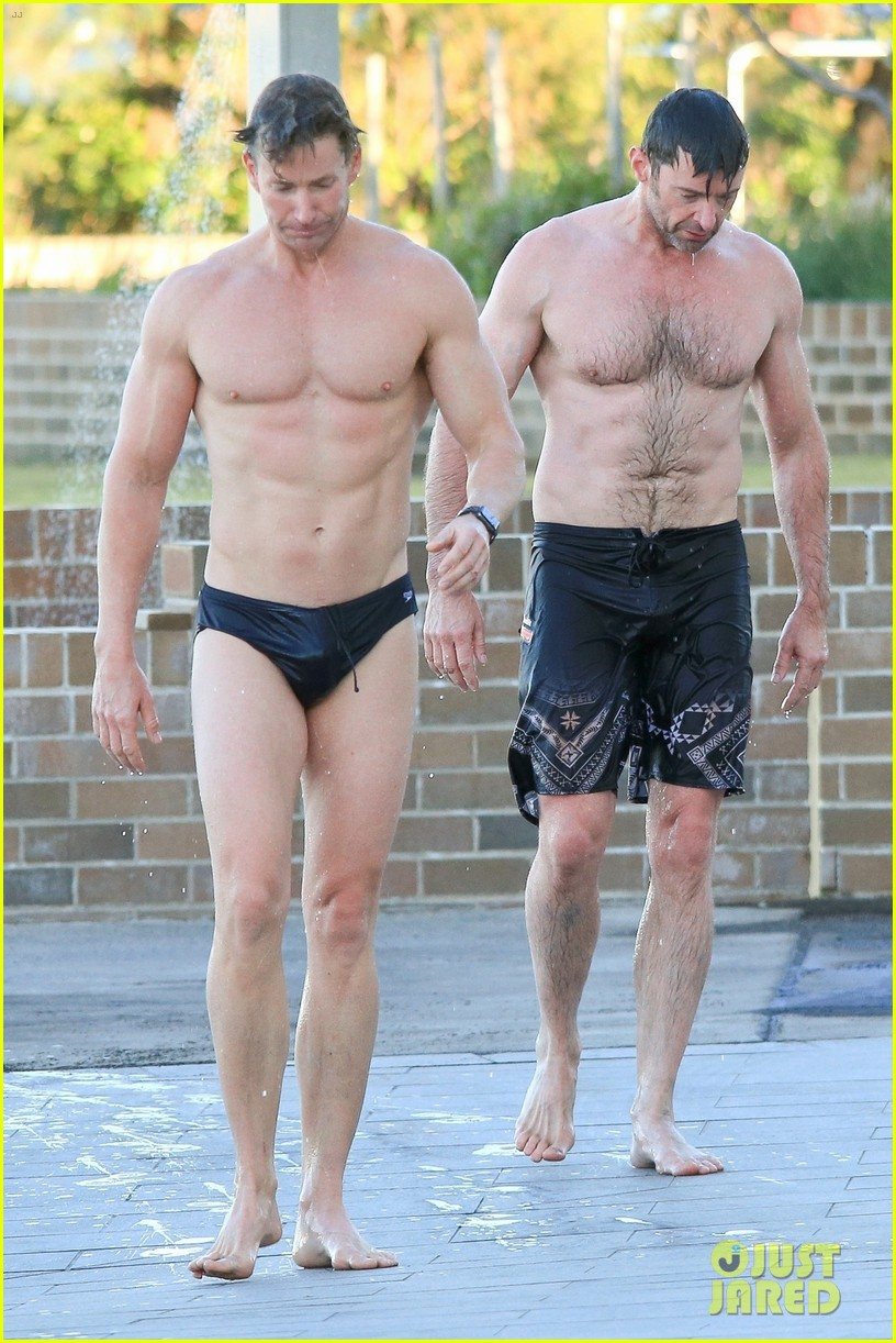 hugh jackman hits the beach with his speedo clad trainer 013935318