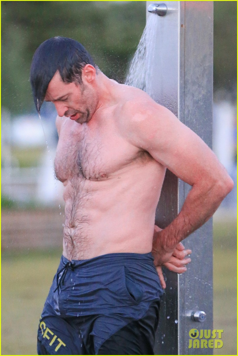 hugh jackman bares his hot body during an outdoor shower 043934389