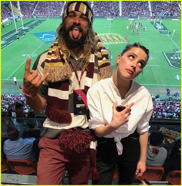 'Aquaman' Co-Stars Jason Momoa & Amber Heard Hit Up Rugby