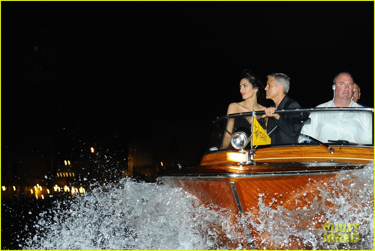 george clooney takes a boat for venice date night with amal 053948780