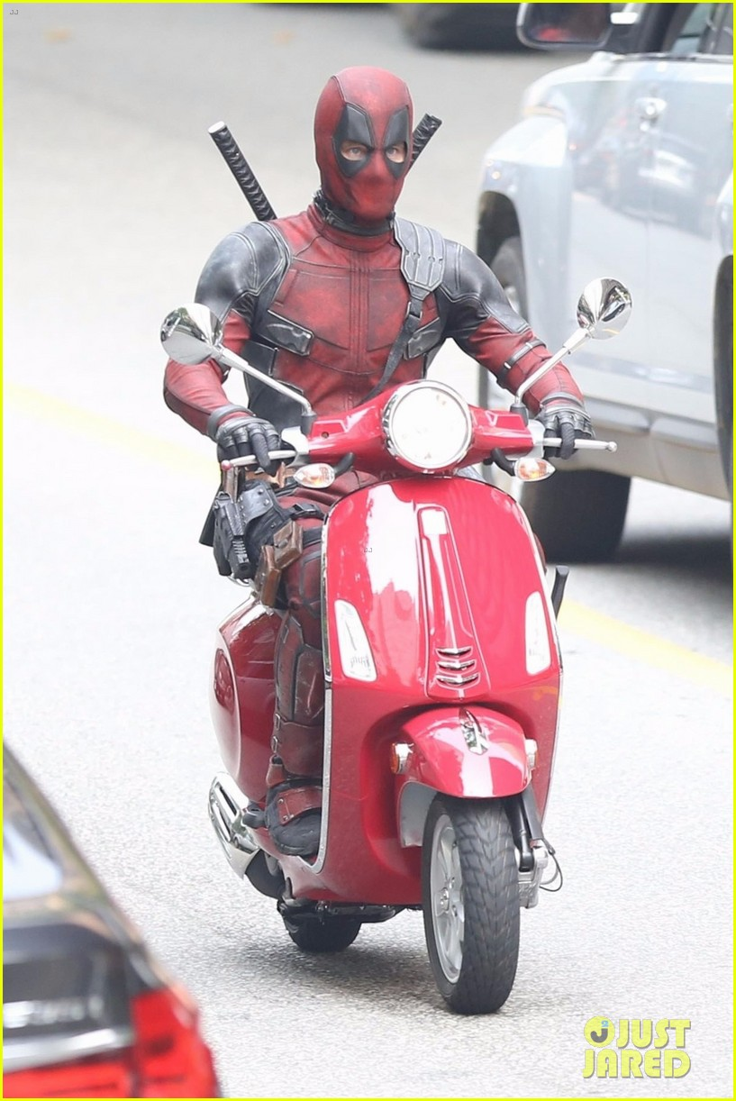 deadpool rides his scooter in new set photos 033939642