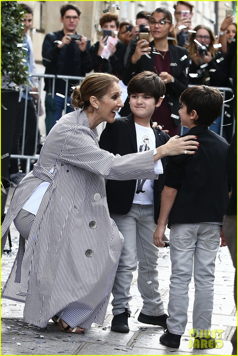 celine dion her twins exit their hotel to a confetti shower 073940641