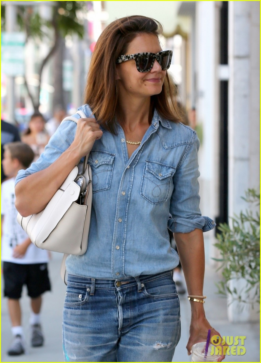 katie holmes rocks denim on denim in beverly hills 053937720