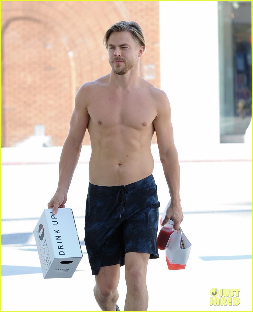 derek hough skips his shirt while shopping at a juice bar 263943472